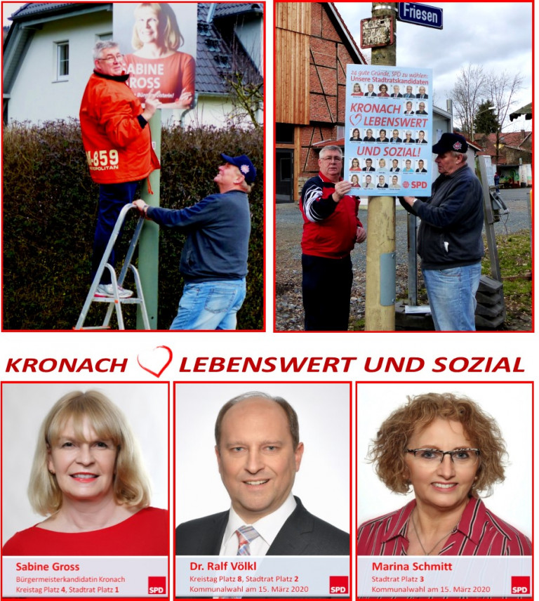In Friesen und Dörfles wurden die offiziellen Wahlplakate der SPD-Bürgermeisterkandidatin Sabine Gross und der Stadtratskandidatinnen und -kandidaten angebracht. Ortsvereinsvorsitzender Egon Becker (links) und die Vorstandsmitglieder Michael Stengl (rechts) und Klaus Stengl trugen mit dieser Plakataktion ihren Teil dazu bei, die Werbebotschaft der SPD bekannt zu machen.